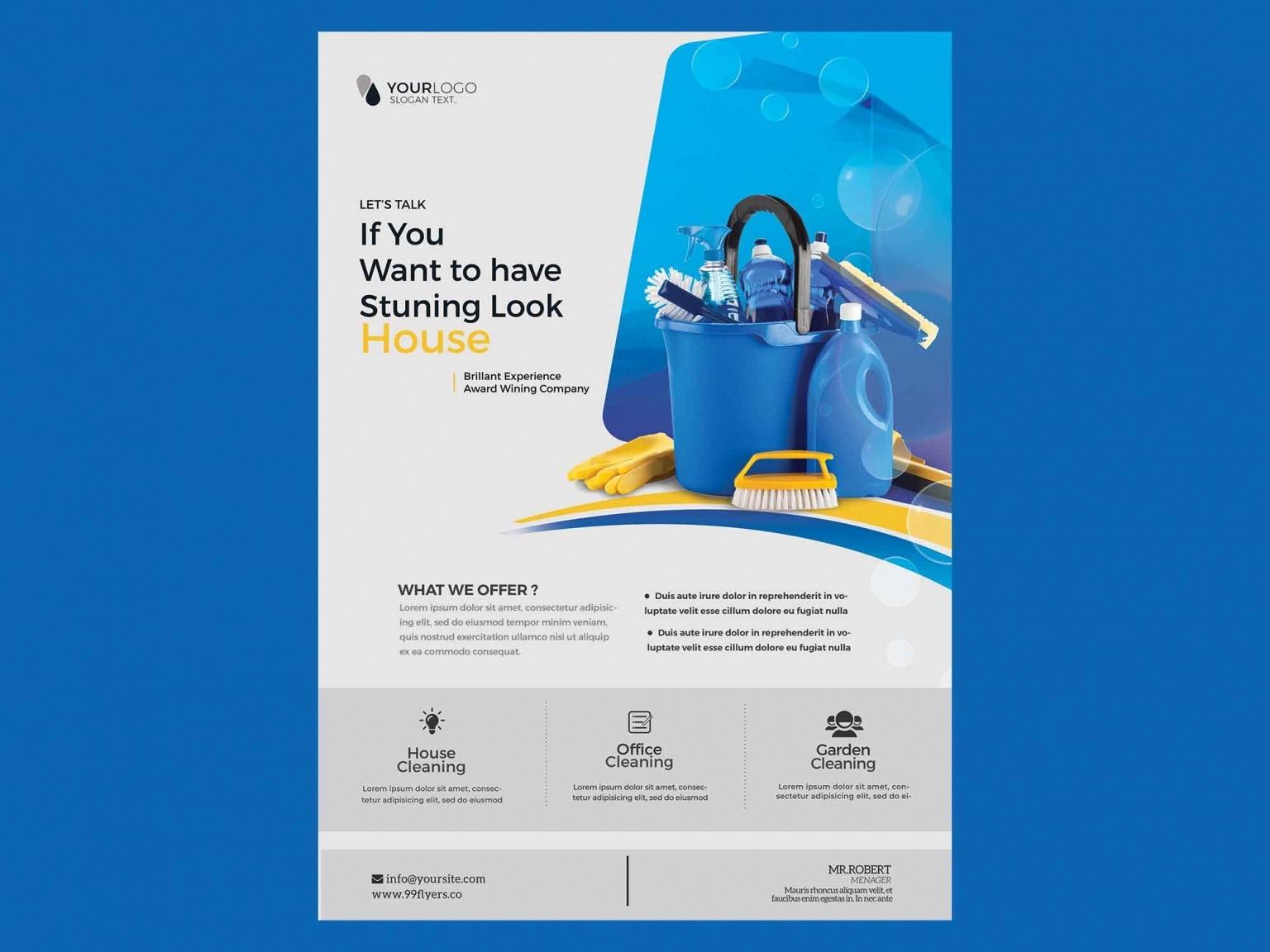 Шаблон листовки для клининговых услуг PSD