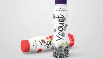 Мокап йогурта — 3 бутылки PSD