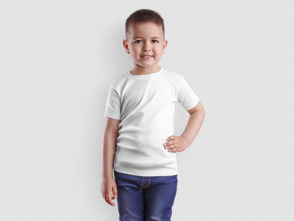 Мокап макет футболки для мальчика PSD (Davinci Plus)