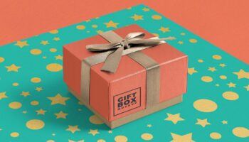Подарочная коробка с бантиком мокап PSD