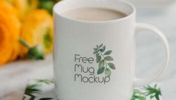 Мокап кружка с кофе PSD