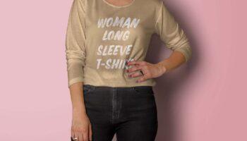 Мокап женская футболка с длинными рукавами PSD
