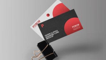 Мокап визиток на зажиме PSD