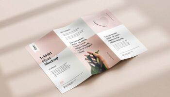 Мокап брошюры трифолд — 5 шт. PSD