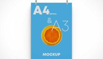 Мокап постер А4 на подвесе PSD