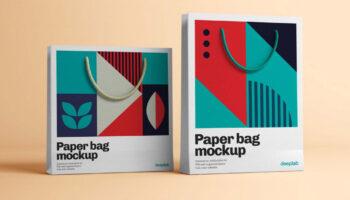 4 мокапа бумажных пакетов PSD