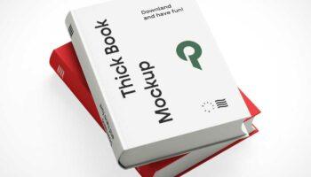 Мокап 2 книг в твердом переплете PSD