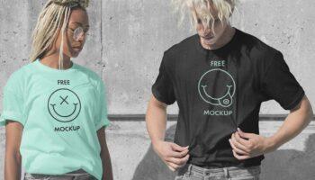 Мокап футболок — девушка и мужчина в футболках PSD