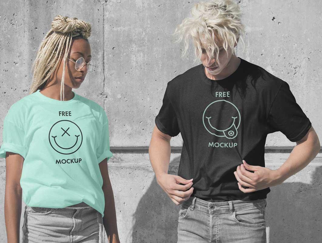 мокап парные футболки PSD
