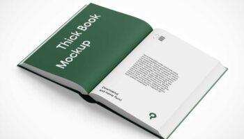 Мокап открытой книги в жестком переплете PSD