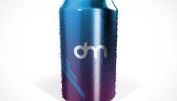 Мокап алюминиевой банки газировки/пива с конденсатом PSD