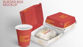 Мокап упаковки для бургеров PSD