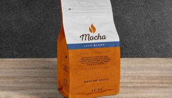 Мокап герметичной упаковки кофе PSD