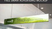 Мокап подвесного рекламного баннера PSD