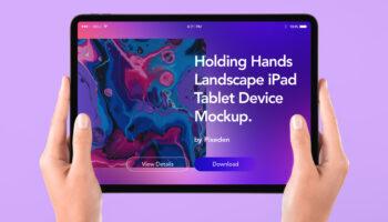 Мокап руки держат планшет iPad PSD